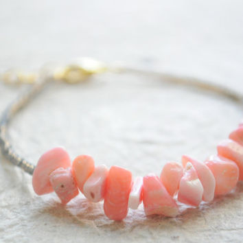 Beach Bracelet No3  Coral and light charcoal by littlejarofhearts