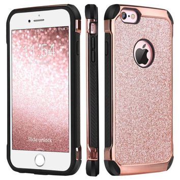 DCCKRQ5 iPhone 6 Case, iPhone 6S Case, BENTOBEN Glitter Luxury 2 in 1 Ultra Slim Hard Laminated with Sparkly Shiny Faux Leather Chrome Shockproof Protective Case for iPhone 6/iPhone 6S (4.7 inch), Rose Gold