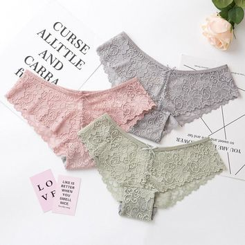 Sexy Lace Panties Women Fashion Cozy Lingerie Tempting Pretty Briefs High Quality Cotton Low Waist Cute Women Underwear