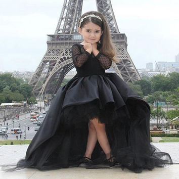 Black Kids Evening Gowns 2016 Kids Pageant Dresses See Through Back Long Sleeve Baby Ball Gown Flower Girl Dresses