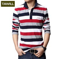Turn-down Collar Embroidered Men Strip Polo Shirt