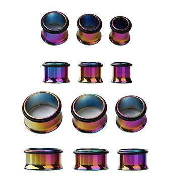 BodyJ4You Plugs Kit Surgical Steel Rainbow Tunnel 00G-20mm Stretching Piercing Jewelry Set 12 Pieces
