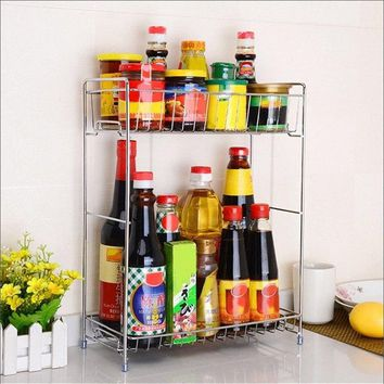 1 or 2 Layer Iron Spice Rack / Kitchen Storage Rack Household Organizer