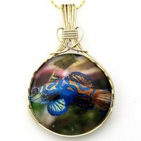 Tropical Fish Glass Cameo Pendant 14K Rolled Gold Jewelry