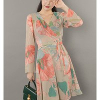 Beige Floral Chiffon Sheer Wrap Dresses Clothing Womens Romantic Store