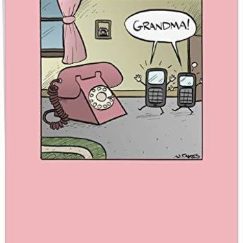 Funny 'Grandma Phone' Happy Birthday Appreciation Card for Grandma - Classic, Retro Greeting Cards - Hysterical Vintage HBD Joke for Grandmother - Free Shipping