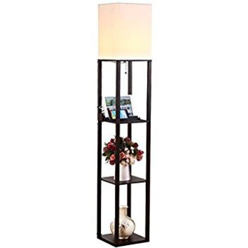 Brightech - Maxwell LED Shelf Floor Lamp – Modern Asian Style Standing Lamp with Soft Diffused Uplight White Shade- Wooden Frame with Convenient Open Box Display Shelves- Black