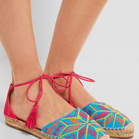 Aquazzura - Palm Springs embroidered canvas and suede espadrilles