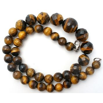 "Tigers Eye Graduated Bead Necklace 18"" Vintage"