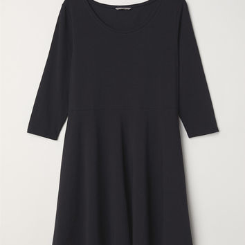 H&M+ Circle-skirt Jersey Dress - Black - Ladies | H&M US