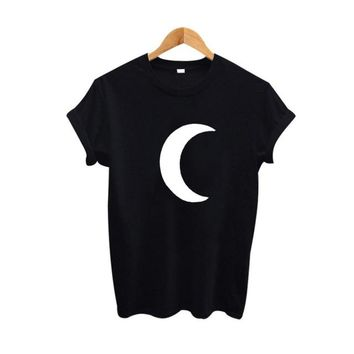 Tops and Tees T-Shirt Moon Graphic Tees Women Harajuku Funny T shirts Summer Cute Women T-shirt Punk Clothes 2017 Fashion  Tee shirt femme AT_60_4 AT_60_4