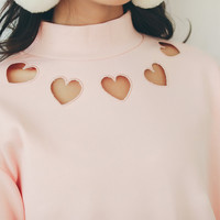 Heart Cut Out High Neck Sweater | S-XL