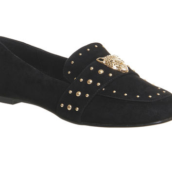 Office Paradise Tiger Trim Loafers Black Suede - Flats