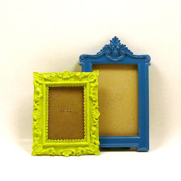 ornate picture frames, eclectic, painted frames, lime green, teal blue, fall home decor, modern victorian, regency