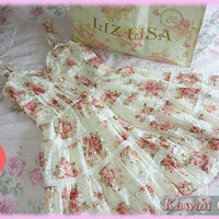 Liz Lisa Floral Tiered Lace Cami Dress