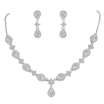 Women's Silver-tone Cubic Zirconia Teardrop Flower Bridal V-Necklace Jewelry Set Dangle Earrings