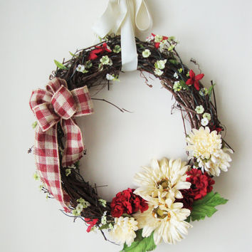 Spring Wreaths, Geraniums, Daisies, Summer Wreaths, French Country Decor, Grapevine Wreaths, Wreath, Front Door Wreaths, Shabby Chic, Decor