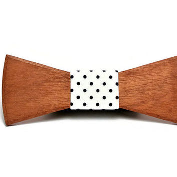 FATHER'S DAY SALE! Handcrafted Wooden bow tie and handkerchief, sapele wood, white in blue polka-dot  fabric. Wedding bowties. Mens bowtie