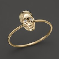 Zoë Chicco 14K Yellow Gold Small Diamond Eyes Skull Ring, .01 ct. t.w.
