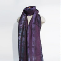 shibori scarf, cotton scarf, hand dyed shawl, unique shawl, deep purple scarf