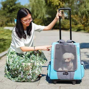 Small Pet Wheel Carrier Stroller and Backpack