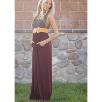 Gray and Burgandy Maxi Tube Dress with Cinched Bust with Two Side Pockets