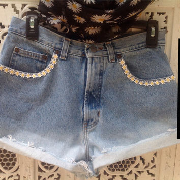 Daisy High Waisted Shorts Ombre Dip Dyed Festival Shorts Hipster Boho //SuzNews Etsy Store//
