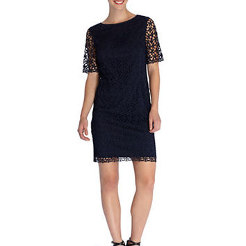 Tahari Arthur S. Levine Crocheted Overlay Dress