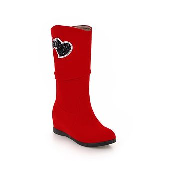 Love Shaped Beads Mid Calf Boots Winter Shoes for Woman 7298