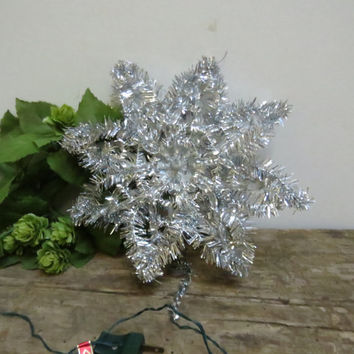 Vintage Christmas Tree Topper Lighted Silver Tinsel Italian In Original Box Mid-Century