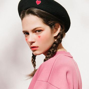 Black Embroidery Heart Wool Blend Beret