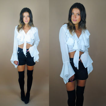 Vintage 1990s White sheer ruffle long bell sleeve angel batwing tie waist crop top blouse shirt Clueless 90210
