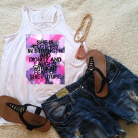 Proverbs 31:25 She is clothed in strength and dignity quote racerback tank top for tween girls, teen girls, and ladies