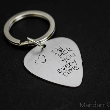 I'd Pick You Every Time, Hand Stamped Aluminum Guitar Pick Keychain for Couples or Best Friensd, Anniversary or Wedding Gift