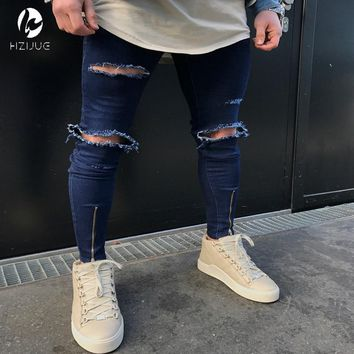 ankle zipper blue skinny ripped distressed jeans