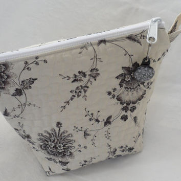 Quilted Wedge Zippered Cosmetic Bag/Designer Black on Bone White Floral Designer Fabric/100 Percent Cotton Wedge Zippered Bag