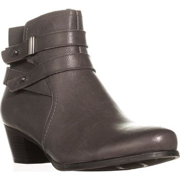naturalizer Kepler Block Heel Ankle Boots, Grey Leather, 7.5 US