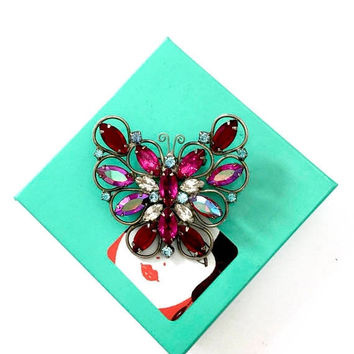Purple Red Fuchsia Rhinestone Butterfly Brooch/Pendant, AB Red Purple Clear and Soft Blue  Rhinestones, Silver Tone, Vintage Statement