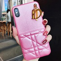DIOR Fashion New Leather Letter Accessories Women Men Protective Cover Phone Case Pink