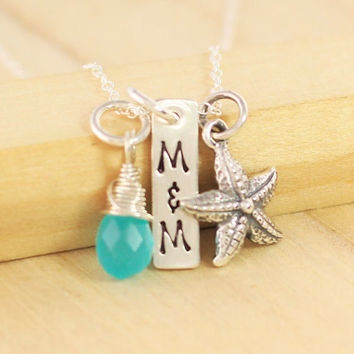 Beach Wedding Necklace - Personalized Starfish Necklace - Wedding Necklace - Bridal Gift - Beach Necklace Destination Wedding Bridal Shower