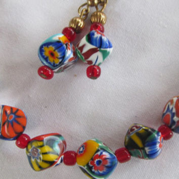 Rare Millefiori Venentian Glass Beads Necklace and Earring Set Trending Jewelry Great Gift Idea Womans Jewelry Set