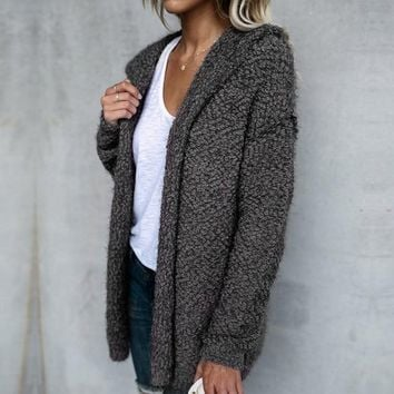 Hooded Fuzzy Oversized Sweater