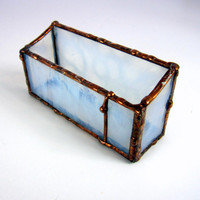 Cloud White Handmade Stained Glass Business Card Holder- One -of-a-Kind