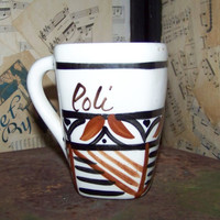 Vintage Hand Crafted Hawaiian Mug--Polly--Tiki Cup--Tribal--Ethnic--Coffee Cup--Poi Pot--Hawaii Souvenir