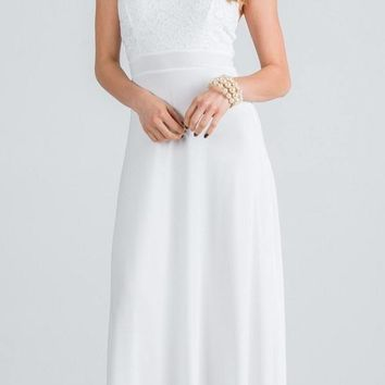 Off White Long Formal Dress with Halter Embellished Neckline