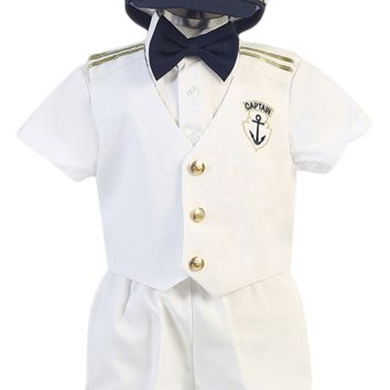 White Nautical Sailor Vest & Shorts 5 Piece Outfit with Captain Hat (Baby or Toddler Boys)