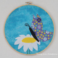 Butterfly on Flower Hoop Art Wall Decor