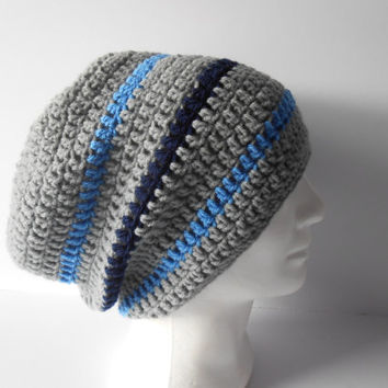 Shop Mens Crochet Striped Beanie On Wanelo