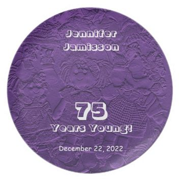 75th Birthday Purple Dolls Commemorative Plate