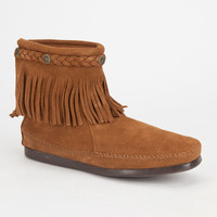 Minnetonka Double Fringe Side Zip Womens Boots Brown  In Sizes